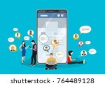 social network web site surfing ... | Shutterstock .eps vector #764489128