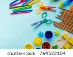 office and student accessories... | Shutterstock . vector #764522104
