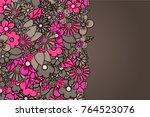 flowers hand drawn cartoon card ... | Shutterstock .eps vector #764523076