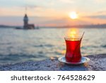 a cup of turkish tea against...   Shutterstock . vector #764528629