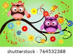 bright cute cartoon owls sit on ... | Shutterstock .eps vector #764532388
