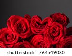 Stock photo bouquet of heart shaped roses for valentines day 764549080