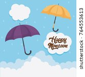 happy monsoon colorful design... | Shutterstock .eps vector #764553613