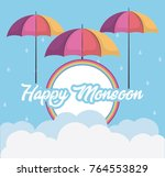 happy monsoon design with... | Shutterstock .eps vector #764553829