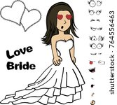 beauty young bride cartoon...   Shutterstock .eps vector #764556463