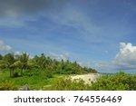 lush vegetation bording a white ... | Shutterstock . vector #764556469