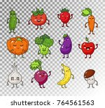 colored doodle set of fruits...   Shutterstock .eps vector #764561563