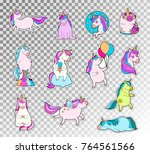 colored doodle set of cute... | Shutterstock .eps vector #764561566