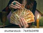 tarot cards on fortune teller... | Shutterstock . vector #764563498