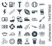 set of 36 equipment filled and... | Shutterstock .eps vector #764578060