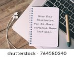 new year resolutions on notepad ... | Shutterstock . vector #764580340