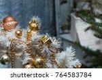 christmas golden balls and toys ...   Shutterstock . vector #764583784