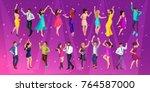 quality isometrics  a 3d girl... | Shutterstock .eps vector #764587000