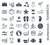 set of 36 beach filled and... | Shutterstock .eps vector #764589274