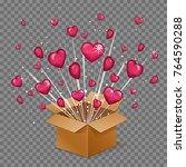 unboxing present gift surprise... | Shutterstock .eps vector #764590288