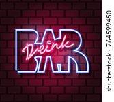 drink pub neon sign. neon sign  ...   Shutterstock .eps vector #764599450