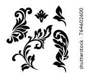 set of oriental vector damask... | Shutterstock .eps vector #764602600