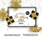 christmas sale poster with... | Shutterstock .eps vector #764603224