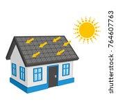 solar energy roof | Shutterstock .eps vector #764607763