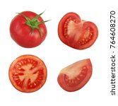 set of tomatoes isolated | Shutterstock . vector #764608270