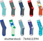 colorful set of socks. vector... | Shutterstock .eps vector #764611594