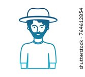 man half body with hat and t... | Shutterstock .eps vector #764612854