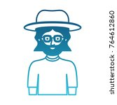 man half body with hat and... | Shutterstock .eps vector #764612860