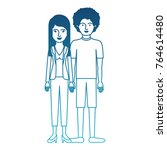couple in degraded blue... | Shutterstock .eps vector #764614480