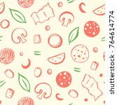 seamless pattern of pizza... | Shutterstock .eps vector #764614774
