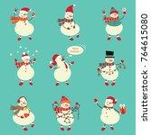 winter snowman set. funny... | Shutterstock .eps vector #764615080