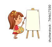 girl painting  blank canvas | Shutterstock .eps vector #764617330