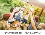 young friends having fun... | Shutterstock . vector #764625940