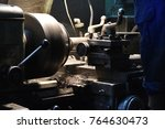 on the lathe a metal part is... | Shutterstock . vector #764630473