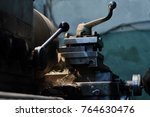 on the lathe a metal part is... | Shutterstock . vector #764630476