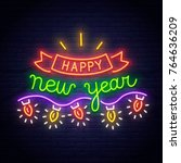 lettering neon sign. neon sign. ... | Shutterstock .eps vector #764636209