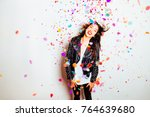 happy young and beatiful woman... | Shutterstock . vector #764639680