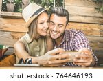 young fashion lover couple at... | Shutterstock . vector #764646193