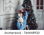 Stock photo attractive girl sitting with puppies near a christmas tree 764648920