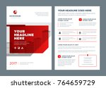 red brochure annual report... | Shutterstock .eps vector #764659729