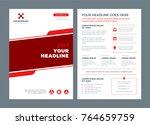 red brochure annual report...   Shutterstock .eps vector #764659759