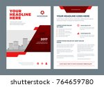 red brochure annual report... | Shutterstock .eps vector #764659780