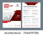 red brochure annual report... | Shutterstock .eps vector #764659780
