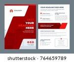 red brochure annual report... | Shutterstock .eps vector #764659789