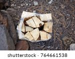 small wrapped bundle of dried... | Shutterstock . vector #764661538
