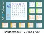 full set calendar template for... | Shutterstock .eps vector #764661730