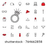 diamond ring icon on white... | Shutterstock .eps vector #764662858