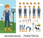 farmer man  character... | Shutterstock .eps vector #764675416