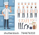 chief cooking  character... | Shutterstock .eps vector #764676310