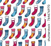 winter colorful warm socks... | Shutterstock .eps vector #764676970