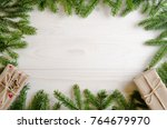 christmas presents with a... | Shutterstock . vector #764679970